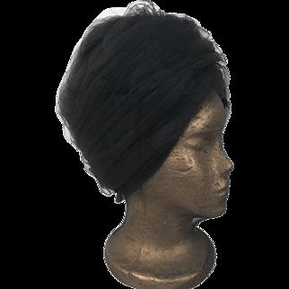 Vintage 1950's Original Collette Cathay California Black Turban Hat Union Label