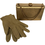 Vintage 1950's Volupte Gold Tone Metal Evening Handbag With Rhinestone Clasp
