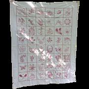 Antique Panel Chain Stitch Quilt Dated 1892