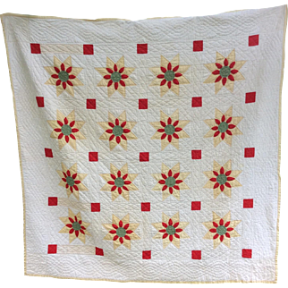 Vintage Pa Hand Made Flower Quilt