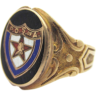 Antique Ostby Barton Patriotic Order of Sons of America Fraternal Ring 10k Sz 9.5