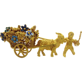 Vintage Articulated Ram with Child and Enamel Flower Cart 18k Yellow Gold Brooch