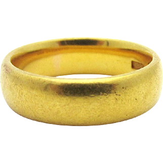Antique 1870 Victorian Band 22k Bright Solid Yellow Gold Victorian Ring Sz 6.25