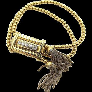 Vintage Retro Gubelin Diamond Tassel Beaded Covered Adjustable Watch 18k Yellow Gold
