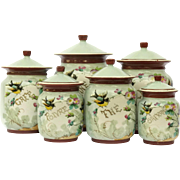 Antique French Hand Painted Porcelain Kitchen Canister Set.