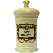 19th Century Hand Painted French Porcelain Apothecary Jar for Pommade Rosat by Hariet & Bobin.