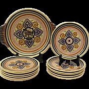 Paul Fouillen Quimper Pottery Plates and Platter Set. Vintage French Breton Cake Service Set of 12 Plates with Cake Platter.