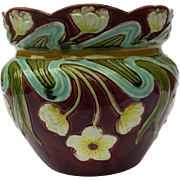Art Nouveau French Majolica Cachepot. Glazed Ceramic Planter. Antique French Jardiniere.