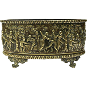 French Repousse Brass Jardiniere. Footed Planter with Village Scenes.