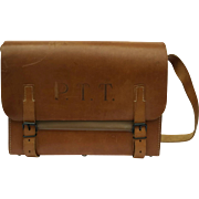 Large Vintage French Postmans Bag. Brown Leather Messenger Bag.