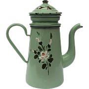 Mint Green French Enamelware Coffee Pot.
