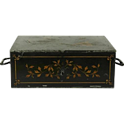 French Antique Cash Box With Flower Decorations. Steel Strong Box and Document Safe.