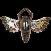 Sarreguemines Majolica Moth Wall Pocket Vase. Luster Glazed Ceramic Wall Vase.