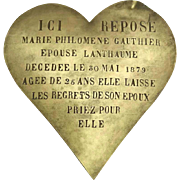 Antique Bronze Heart Grave Marker. French Memorial Plaque.