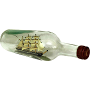 French Vintage Ship Model in a Bottle.