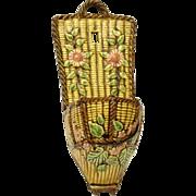 Choisy Le Roi Majolica Wall Pocket. Glazed Ceramic Basket Weave Wall Vase.
