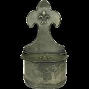 Vintage French Pewter Salt Box with Fleur De Lys Motifs. Country Kitchen Decor.
