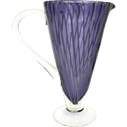 Vintage Purple Candy Stripe Murano Blown Glass Cocktail Pitcher.