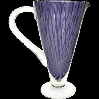 Vintage Purple Candy Stripe Murano Blown Glass Cocktail Pitcher.