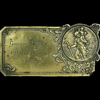 French Brass Saint Christopher Medal.