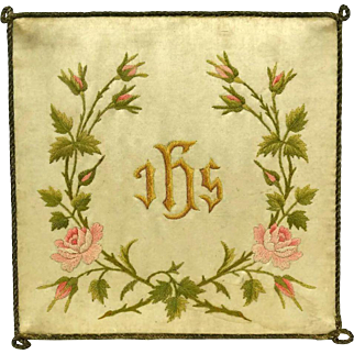 Antique French Embroidered Silk Chalice Cover with Roses and Christogram IHS.