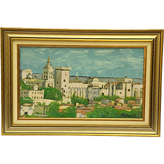 Avignon Pope's Palace Painting. French Framed Oil Painting on Canvas by Solomas.