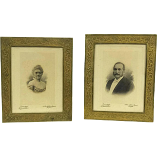 French Platinotype Photo Portraits of Man and Woman in Gold Tone Frames.