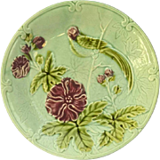 Salins French Majolica Parrot Wall Plate in Aqua Blue Glaze.