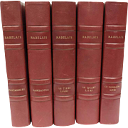 5 Volume Set of Rabelais Complete Works. Red Leather Bound French Literature Book Set.