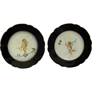 Antique French Porcelain Cabinet Plates with Hand Painted Cherubs.