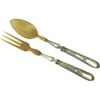French Silver and Horn Salad Servers.