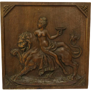 French Antique Carved Wood Panel. Mythological Diane and Lion Figures on French Armoire Door Panel.
