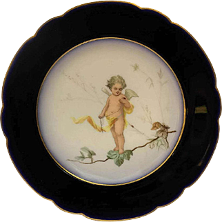 19th Century Antique French Porcelain Cabinet Plate with Hand Painted Cherub.