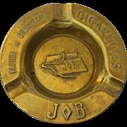 French Vintage Brass Job Cigarette Advertising Ashtray