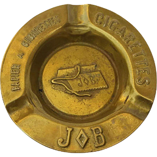 French Vintage Brass Job Cigarette Advertising Ashtray