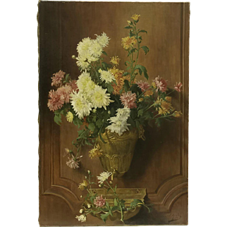 19th Century French Antique Water Fountain and Crysanthemum Flower Still Life Oil Painting on Canvas.