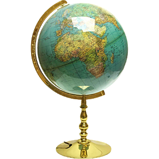 Vintage Columbus Globe Lamp on Brass Stand. Paul Ostergaard Columbus Duplex Illuminated World Map Globe Light.