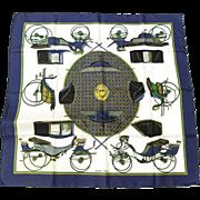 Authentic Vintage Hermes Silk Scarf Les Voitures a Transformation. Hermès Carré Foulard 90cm x 90cm.
