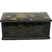 Antique Black Lacquered French Sewing Thread Box with Advertising.