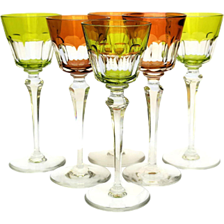 Baccarat Coloured Crystal Harcourt White Wine Glasses. Set of 6.