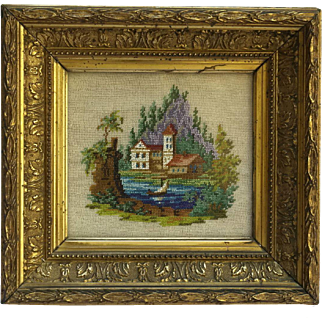 Victorian Beadwork Picture of French Chateau in Gold Frame.