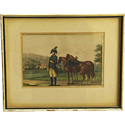 Early 19th Century Soldier in Uniform Painting. Antique Equestrian & Military Art.