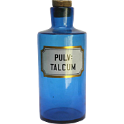 Antique French Blue Glass Apothecary Jar. Blown Glass Pharmacy Bottle for Talcum Powder.