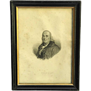 19th Century Benjamin Franklin Portrait Engraving.