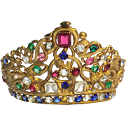 19th Century French Antique Jeweled Crown Santos Madonna Diadem.
