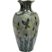 Art Deco Camille Tharaud Limoges Porcelain Vase with Flowers and Butterflies.