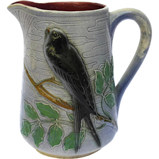 St Clement Majolica Bird Pitcher with Swallow on Branch.