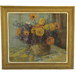 French Flowers Framed Floral Still Life Painting.