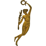 19th Century French Ormolu Bronze Furniture Ornament of Naked Lady with Laurel Wreath.