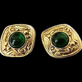 Vintage Chanel Green Gripoix Earrings